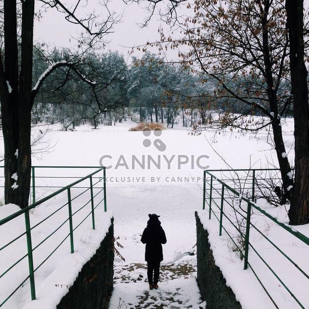 Menina olhando na paisagem de inverno - Free image #273901