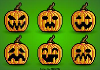 Pixel pumpkins - Free vector #274111