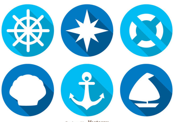 Nautical Long Shadow Icons - Free vector #274261
