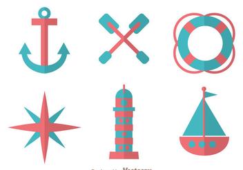 Nautical Flat Design Icons - Kostenloses vector #274271