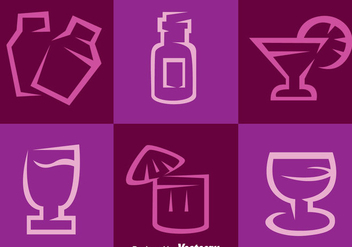 Purple Cocktail Vector Icons - vector gratuit #274321