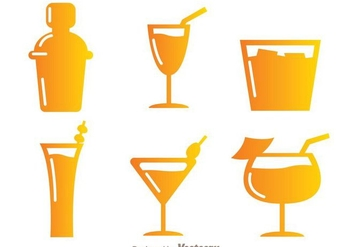 Gradient Cocktail Icons - Free vector #274331