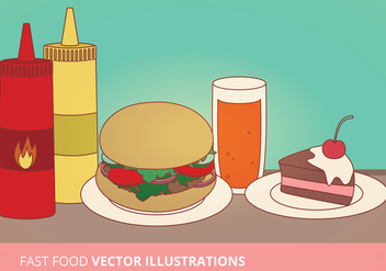 Fast Food Vector Illustrations - Free vector #274421