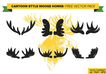 Cartoon Style Moose Horns Free Vector Pack - vector gratuit #274441
