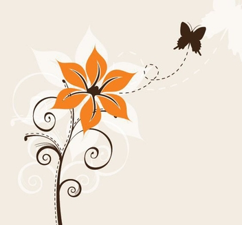 Abstract Flower Plant with Butterfly - Free vector #274531