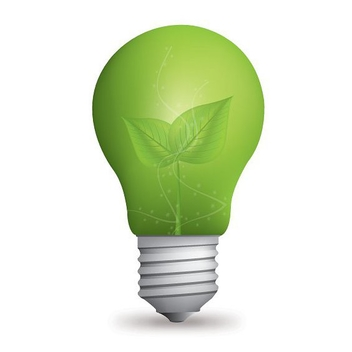 Green Eco Bulb with Leaves - Free vector #274571
