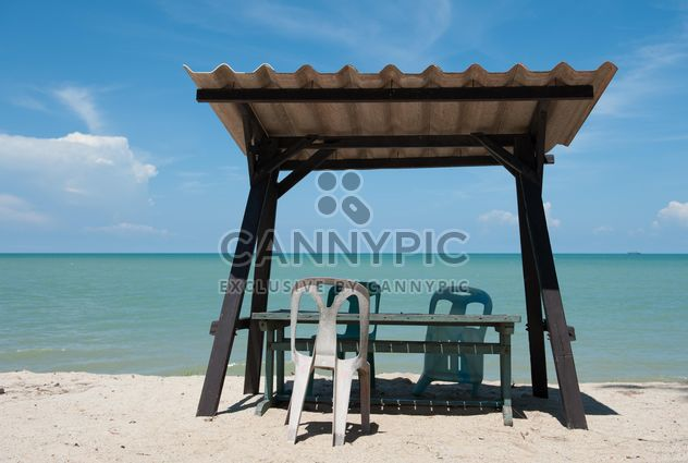 Tables and chair on beach - Free image #275091