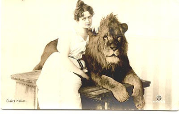 lady lion tamer (postcard) - Free image #275341