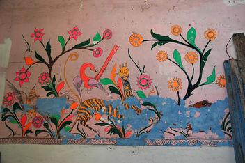 Antique Mexican painting, Surprised striped creature, Hotel Belmar, Mazatlan, Sinaloa, Mexico - Kostenloses image #281201