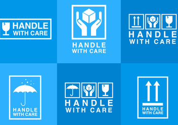 Handle With Care Sticker - Free vector #297831