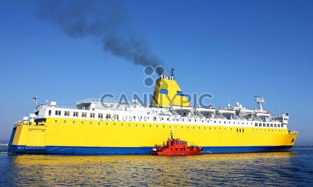 Yellow ship on a sea - Free image #301461