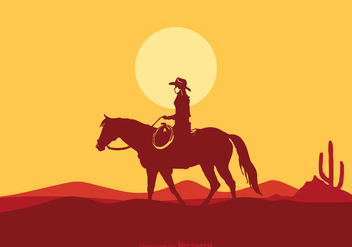 Free Vector Cowgirl Riding Horse - бесплатный vector #302111