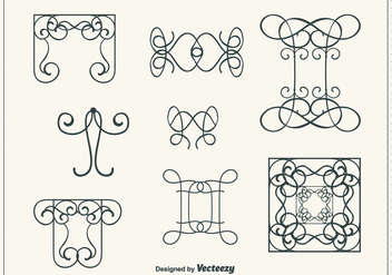 Hand Drawn Curly Swirl Vector Set - Free vector #302181