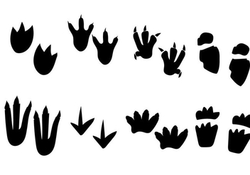 Dinosaur Black and White Footprint Vector - Free vector #302421