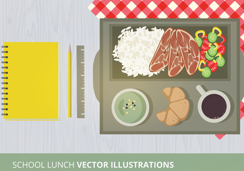 School Lunch Vector Illustration - vector gratuit #302591