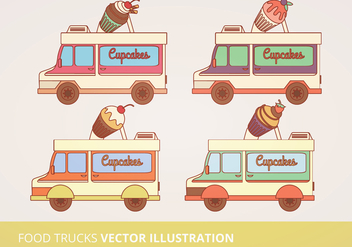 Food Trucks Vector Illustration - бесплатный vector #302601