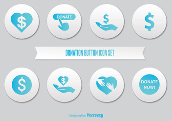 Donate Button Icon Set - Free vector #302651