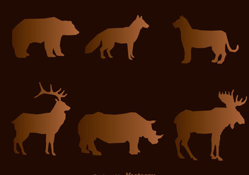 Wild Animal Silhouette Vectors - Free vector #302981