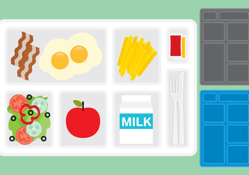 School Lunch Tray vectors - vector gratuit #303041