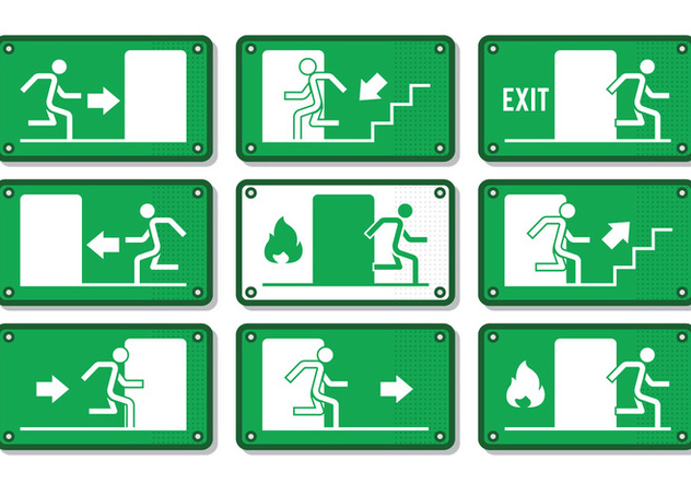Emergency Exit Sign - Free vector #303071