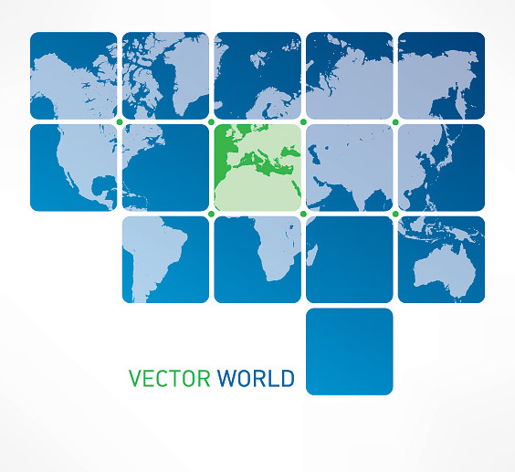 Blue Tiled World Map - vector #303191 gratis