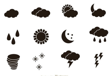 Weather Black Icons - vector gratuit #303381