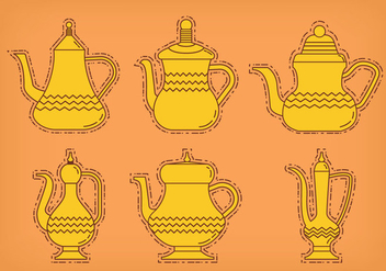 Arabic coffee pot vectors - Free vector #303601