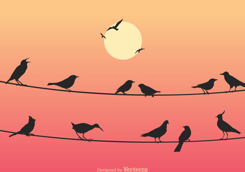 Free Birds On Wires Vector Illustration - Kostenloses vector #303891