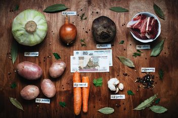 Ingredients for borscht for 3 dollars on wooden background, Cheboksary, Russia - image gratuit(e) #303941