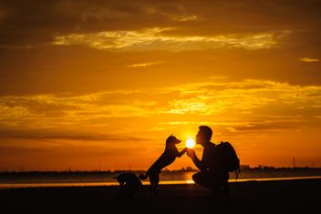 silhouette of man and dog at sunset - бесплатный image #303981