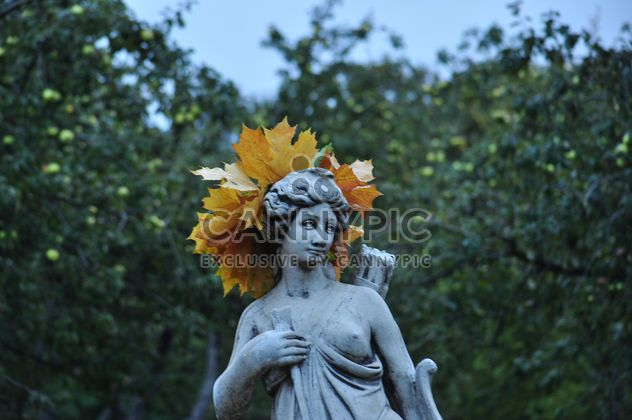 a wreath of maple leaves on the statue - Free image #304011