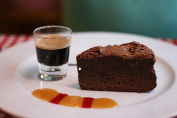 Brownie and glass of espresso - Free image #304141