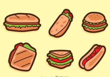Vector Sandwich Cartoon Icons - Free vector #304171