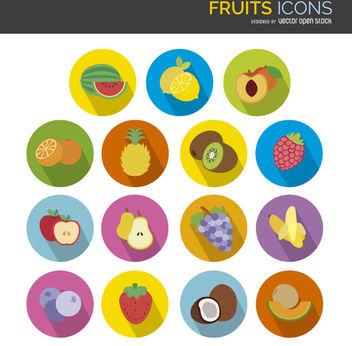 Flat fruit icons set - Free vector #304311