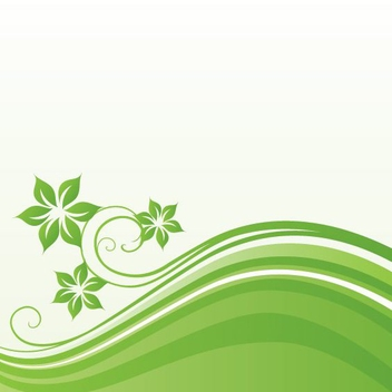 Green Waves Floral Background - Free vector #304321