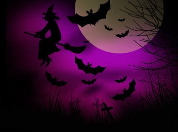 Witch Bats Halloween Night Background - vector gratuit #304431