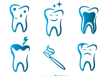 Vector Teeth Blue Icons - Free vector #304951