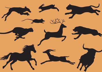 Animals Running Silhouette Vectors - Free vector #305241