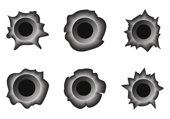 Free Bullet Hole Metal Vector Set - Kostenloses vector #305451