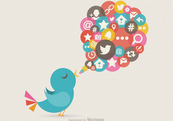 Free Twitter Bird Message Vector - Kostenloses vector #305481