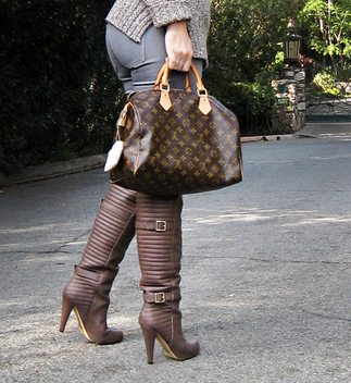 matiko over the knee boots with buckles+louis vuitton speedy bag with charms+contrast - image gratuit #314511