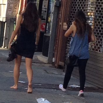 And why we are at it how about a nice Friday morning walk of shame shoeless down the clean streets of NYC... Yes chick on the right is still wearing socks but also #nobrarevolution #walkofshame #eastvillage - Free image #314931