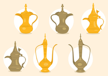 Arabic coffee pot vectors - vector gratuit #317481