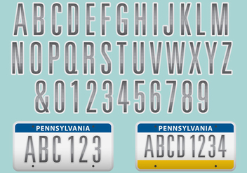 License Plate Font Vector - Free vector #326781