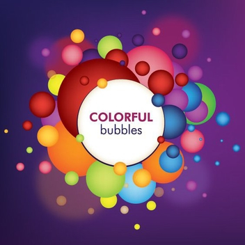Colorful Bubbles White Circle Banner - vector gratuit #326831