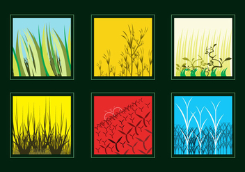 Various Grass and Bushes Vectors - Free vector #327071