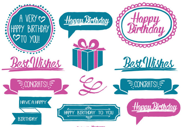 Cute Hand Drawn Style Birthday Labels - vector #327361 gratis