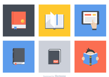Free Flat Book Vector Icon Set - vector gratuit #327441