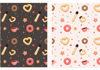 Churros and donut pattern - vector gratuit #327471