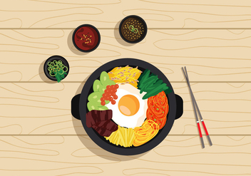 Vector Bibimbap Korean Food - Free vector #327671